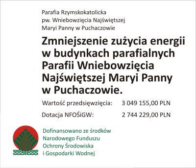 Zmniejszenie zużycia energii w budynkach parafialnych | Parafia w Puchaczowie